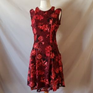 Gabby Skye Sleeveless Red Floral Lace Dress